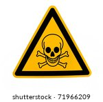 Yellow triangular danger sign...