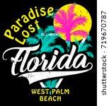 florida summer tee graphic... | Shutterstock .eps vector #719670787
