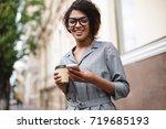 smiling african american girl... | Shutterstock . vector #719685193