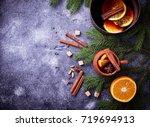mulled wine  winter hot drink.... | Shutterstock . vector #719694913