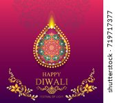 happy diwali festival card with ... | Shutterstock .eps vector #719717377