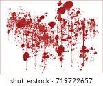 various dripping blood splashes ... | Shutterstock .eps vector #719722657