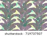 banana leaf tropical seamless... | Shutterstock . vector #719737507