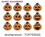 halloween pumpkin   Shutterstock .eps vector #719755033