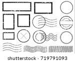 blank postal stamps set... | Shutterstock .eps vector #719791093