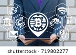 block chain network microchip... | Shutterstock . vector #719802277
