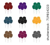 multicolored inable balls.party ... | Shutterstock .eps vector #719814223