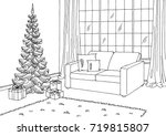 living room graphic christmas... | Shutterstock .eps vector #719815807
