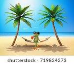 green frog in the sun   3d...   Shutterstock . vector #719824273