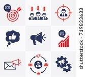 marketing set flat icons vector ... | Shutterstock .eps vector #719833633