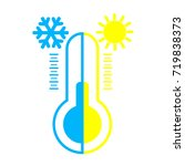 the thermometer is winter and... | Shutterstock .eps vector #719838373