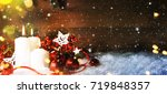 candels with christmas... | Shutterstock . vector #719848357