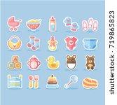vector flat baby icon set | Shutterstock .eps vector #719865823