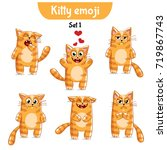 vector set of cute cat... | Shutterstock .eps vector #719867743