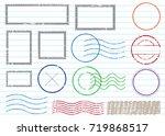blank postal stamps set...   Shutterstock .eps vector #719868517