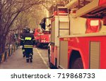 fire with black smoke in... | Shutterstock . vector #719868733