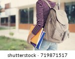 university student outdoors on... | Shutterstock . vector #719871517