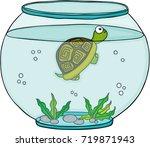 little turtle in globe aquarium  | Shutterstock .eps vector #719871943