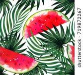 watercolor exotic background... | Shutterstock . vector #719872267