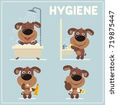 set of funny puppy dog is... | Shutterstock .eps vector #719875447