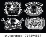 oktoberfest badge set in black... | Shutterstock .eps vector #719894587