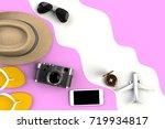 top view of traveler's... | Shutterstock . vector #719934817
