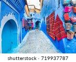 narrow street of chefchaouen... | Shutterstock . vector #719937787