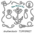 set of hand drawn ropes corners ... | Shutterstock .eps vector #719939827