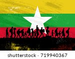silhouette of refugees people... | Shutterstock .eps vector #719940367