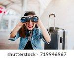 travel asian girl hold... | Shutterstock . vector #719946967