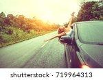 asian women travel relax in the ... | Shutterstock . vector #719964313