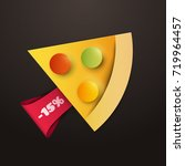 cartoon piece of pizza with red ... | Shutterstock .eps vector #719964457