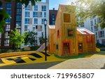 modern unusual bright wooden...   Shutterstock . vector #719965807