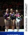 Small photo of BERLIN, GERMANY - June 4th, 2017; The podium of the all round German Championships in Berlin. (left to right) Pauline Schäfer,Elisabeth Seitz, Kim Bui.