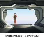stewardess before open gate... | Shutterstock . vector #71996932