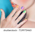 beautiful female lips and hand... | Shutterstock . vector #719973463