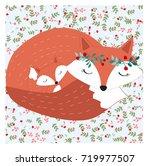 vintage mother mom fox love...   Shutterstock .eps vector #719977507
