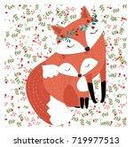 vintage mother mom fox love... | Shutterstock .eps vector #719977513