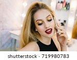 closeup portrait fashionable... | Shutterstock . vector #719980783