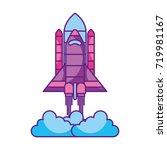 spaceship travel science... | Shutterstock .eps vector #719981167