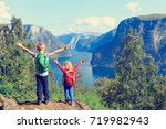 happy little boy and girl... | Shutterstock . vector #719982943