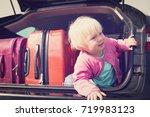 family car travel   little baby ... | Shutterstock . vector #719983123
