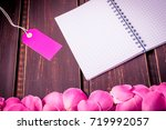 rose flowers leaves with blank...   Shutterstock . vector #719992057