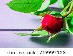 rose flowers on wooden...   Shutterstock . vector #719992123