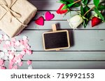 rose flowers and hearts with...   Shutterstock . vector #719992153