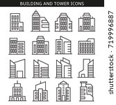 building and tower icons | Shutterstock .eps vector #719996887