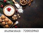 christmas baking background.... | Shutterstock . vector #720010963