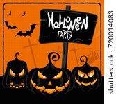 halloween party orange poster.... | Shutterstock . vector #720014083