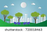 paper art of landscape with... | Shutterstock .eps vector #720018463