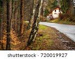 wet rainy autumn day. leaves... | Shutterstock . vector #720019927